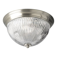 Progress Lighting Clear Ribbed Glass 2 Light Close-to-Ceiling in Brushed Nickel P3656-09