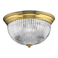 Progress Lighting Clear Ribbed Glass 2 Light Close-to-Ceiling in Polished Brass P3656-10