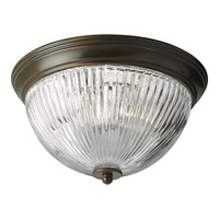 Progress Lighting Clear Ribbed Glass 2 Light Close-to-Ceiling in Antique Bronze P3656-20