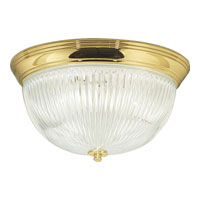 Progress Lighting Clear Ribbed Glass 3 Light Close-to-Ceiling in Polished Brass P3657-10