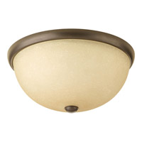 Progress P3660-20WB Random 2 Light 14 inch Antique Bronze Close-to-Ceiling Ceiling Light in Etched Umber Linen Glass