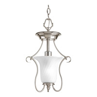 Progress P3678-09 Kensington 1 Light 11 inch Brushed Nickel Close-to-Ceiling Ceiling Light in Swirl Etched Glass