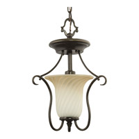 Progress P3678-77 Kensington 1 Light 11 inch Forged Bronze Close-to-Ceiling Ceiling Light in Frosted Caramel Swirl