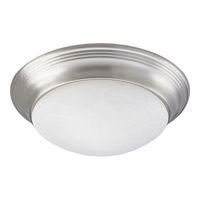 Alabaster Glass 3 Light 18 inch Brushed Nickel Close-to-Ceiling Ceiling Light in Etched Alabaster
