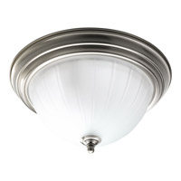 Melon Glass 2 Light 13 inch Brushed Nickel Flush Mount Ceiling Light in Bulbs Included