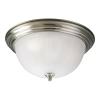 Melon Glass 3 Light 15 inch Brushed Nickel Flush Mount Ceiling Light