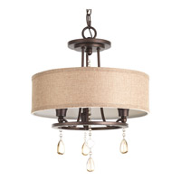 Flourish 3 Light 15 inch Cognac Semi-Flush Convertible Ceiling Light