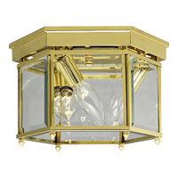 Progress Lighting Beveled Glass 3 Light Close-to-Ceiling in Polished Brass P3730-10
