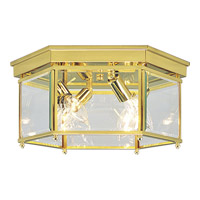 Progress Lighting Beveled Glass 4 Light Close-to-Ceiling in Polished Brass P3731-10