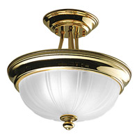 Progress Lighting Prescott 2 Light Semi-Flush Mount in Polished Brass P3745-10