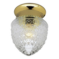 Progress P3750-10 Glass Globe 1 Light 6 inch Polished Brass Close-to-Ceiling Ceiling Light