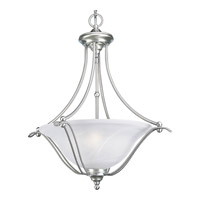 Avalon 3 Light 22 inch Brushed Nickel Hall & Foyer Ceiling Light in Swirled Alabaster