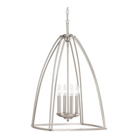 Progress Lighting Tally 4 Light Foyer Pendant in Brushed Nickel with Etched White Linen Glass P3787-09