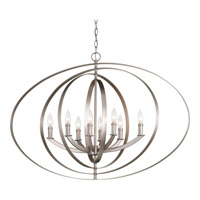 Progress P3791-126 Equinox 8 Light 39 inch Burnished Silver Foyer Pendant Ceiling Light