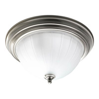 Progress P3817-09 Melon Glass 2 Light 13 inch Brushed Nickel Close-to-Ceiling Ceiling Light