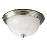 Melon Glass 3 Light 15 inch Brushed Nickel Close-to-Ceiling Ceiling Light in Standard