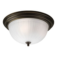 Melon Glass 3 Light 15 inch Antique Bronze Close-to-Ceiling Ceiling Light in Standard