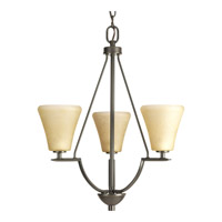 Progress P3821-20 Bravo 3 Light 18 inch Antique Bronze Hall & Foyer Ceiling Light in Etched Umber Linen Glass