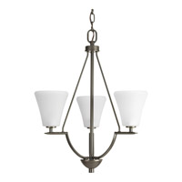 Progress P3821-20W Bravo 3 Light 18 inch Antique Bronze Foyer Pendant Ceiling Light in Etched