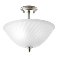 Kensington 2 Light 14 inch Brushed Nickel Close-to-Ceiling Ceiling Light in Swirl Etched Glass