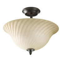 Kensington 2 Light 14 inch Forged Bronze Semi-Flush Mount Ceiling Light in Frosted Caramel Swirl