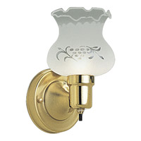 Decorative Glass 1 Light 5 inch Polished Brass Bath Vanity Wall Light