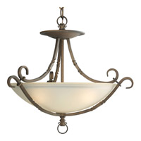 Santiago 3 Light 20 inch Roasted Java Semi-Flush Mount Ceiling Light