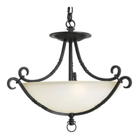 Santiago 3 Light 20 inch Forged Black Semi-Flush Mount Ceiling Light