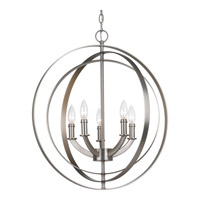 Equinox 5 Light 22 inch Burnished Silver Chandelier Ceiling Light