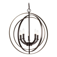 Equinox 5 Light 22 inch Antique Bronze Chandelier Ceiling Light
