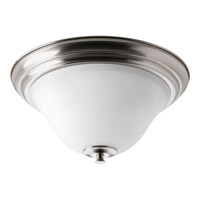 Cantata 2 Light 15 inch Brushed Nickel Flush Mount Ceiling Light in Etched Glass Painted White Inside