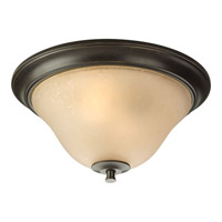 Progress P3853-77 Cantata 2 Light 15 inch Forged Bronze Close-to-Ceiling Ceiling Light in Seeded Topaz Glass