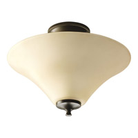 Progress P3855-20 Janos 2 Light 13 inch Antique Bronze Semi-Flush Mount Ceiling Light in Etched Tea-Stained