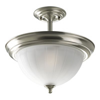Melon Glass 2 Light 13 inch Brushed Nickel Semi-Flush Mount Ceiling Light