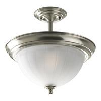 Progress P3876-09 Melon Glass 2 Light 13 inch Brushed Nickel Semi-Flush Mount Ceiling Light