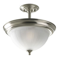 Progress Lighting Melon Glass 2 Light Semi-Flush Mount in Brushed Nickel P3876-09EBWB