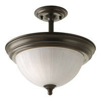 Melon Glass 2 Light 13 inch Antique Bronze Semi-Flush Mount Ceiling Light