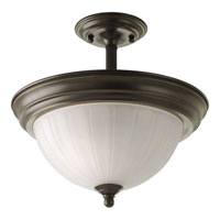Progress Lighting Melon Glass 2 Light Semi-Flush Mount in Antique Bronze P3876-20EBWB