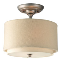 Ashbury 2 Light 10 inch Silver Ridge Semi-Flush Mount Ceiling Light