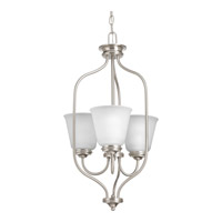 Progress Lighting Keats 3 Light Foyer Pendant in Brushed Nickel with Etched Glass P3887-09