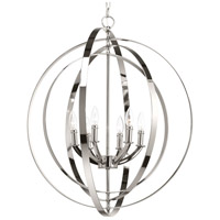 Progress P3889-104 Equinox 6 Light 28 inch Polished Nickel Hall & Foyer Ceiling Light