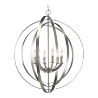 Progress P3889-126 Equinox 6 Light 28 inch Burnished Silver Hall & Foyer Ceiling Light