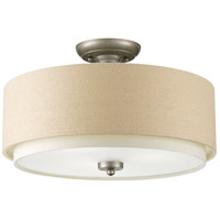 Ashbury 3 Light 16 inch Silver Ridge Semi-Flush Mount Ceiling Light