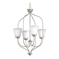 Progress Lighting Keats 4 Light Foyer Pendant in Brushed Nickel with Etched Glass P3891-09