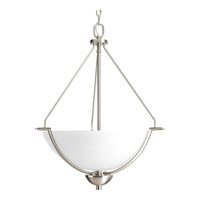 Progress P3912-09 Bravo 3 Light 21 inch Brushed Nickel Hall & Foyer Ceiling Light in Bulbs Not Included, Etched