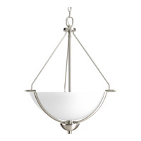 Bravo 3 Light 21 inch Brushed Nickel Inverted Foyer Pendant Ceiling Light in Bulbs Included, Etched