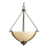Progress P3912-20 Bravo 3 Light 21 inch Antique Bronze Hall & Foyer Ceiling Light in Bulbs Not Included, Etched Umber Linen Glass