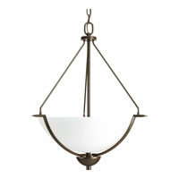 Progress Lighting Bravo 3 Light Inverted Pendant in Antique Bronze with Etched Glass P3912-20W