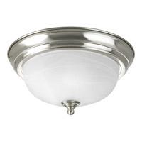 """Progress Alabaster 1 Light 11 inch Brushed Nickel Flush Mount Ceiling Light in 11-3/8"""" Alabaster Glass"""