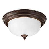 "Progress P3924-20ET Signature 1 Light 11 inch Antique Bronze Close-to-Ceiling Ceiling Light in 11-3/8"" Etched"